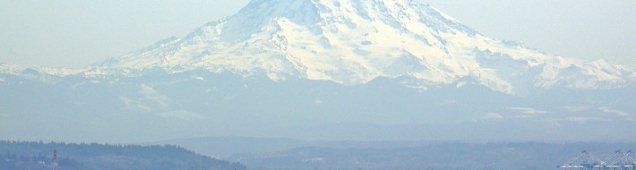 View of Mount Rainier over Tacoma Washington