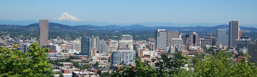 """""""Portland and Mt Hood"""" by Amateria1121 - Own work. Licensed under CC BY-SA 3.0 via Wikimedia Commons - https://commons.wikimedia.org/wiki/File:Portland_and_Mt_Hood.jpg#/media/File:Portland_and_Mt_Hood.jpg"""