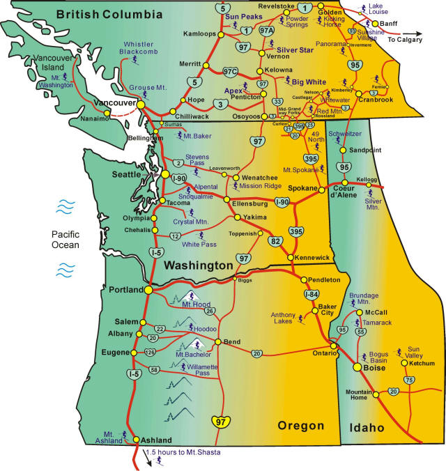 Northwest Ski Areas Map Including Washington Oregon Idaho British