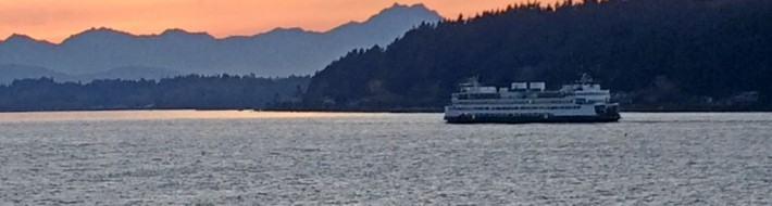 Washington State Ferry at Sunset by Russell Barlow