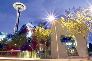 Night Exterior with Space Needle and Experience Music Project Museum By Baileythompson (Own work) [CC BY-SA 3.0 (http://creativecommons.org/licenses/by-sa/3.0) or GFDL (http://www.gnu.org/copyleft/fdl.html)], via Wikimedia Commons