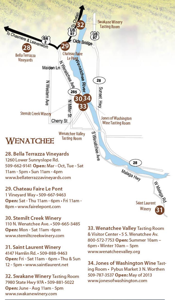 Wenatchee wine map and Wenatchee Winery Map