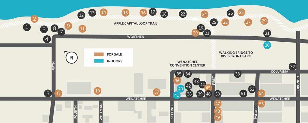 Wenatchee Art on the Avenue Map